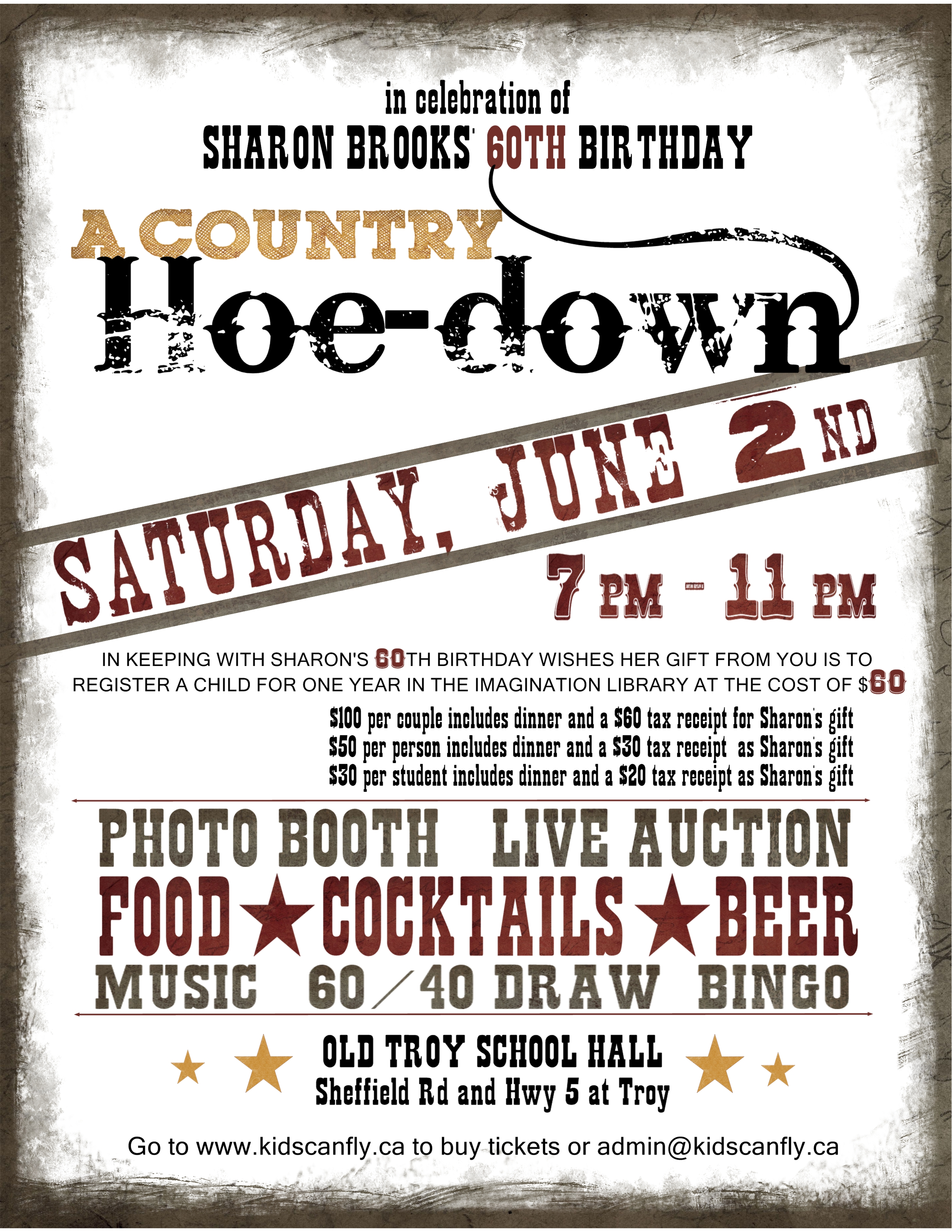 Come Celebrate Sharon\'s 60th birthday with a Hoedown and Fundraiser ...